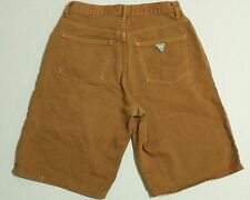 Vintage Mens 1990s 90s Guess Denim Jean Shorts Green Triangle Logo W 30 Baggy