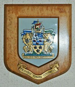 Tenby Town Council plaque shield crest coat of arms