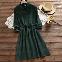 Mori Girl Vintage Plaid Skirt Long Sleeve One Piece A-line Dress New 2Colors