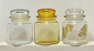 3 Vintage Apothecary Clear Amber Glass Jar Bubble Lid Bathroom Vanity Set Lot