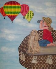 """original oil painting-Flying above the clouds, Hot air balloon - 20""""x 24"""" x 5/8"""""""