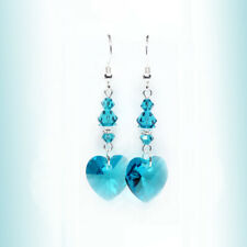 Blue Green, Teal Austrian Crystal Earrings, Sparkly Crystal Heart Earrings,SS
