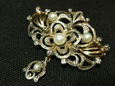 Tolle antike Brosche Anhänger Diamanten Perlen Silber & Gold 14 kt. 585 !!!