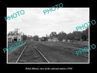OLD POSTCARD SIZE PHOTO OF PEKIN ILLINOIS, THE RAILROAD DEPOT STATION c1950