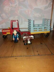 Vintage 1980 Fisher Price Husky Helper 331 Tractor Trailer Bull And Farmer