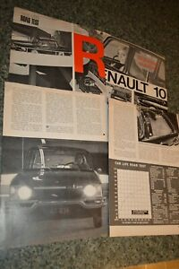 ★1967 RENAULT 10 ORIGINAL FIRST LOOK ROAD TEST ARTICLE INFO SPECS 67 R10 R