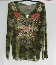 NWT JOHNNY WAS EMBROIDERED SIMONA CAMO TUNIC TOP THERMAL COTTON KNIT XL runs BIG