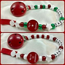 🎄MY 1st CHRISTMAS 🎄Dummy Clip 🎄 PERSONALISED upto 12 Letters 🎄 RED-GREEN🎄