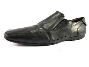 Cesare Paciotti Black Leather Loafers Men's Shoes Size US 9 EU 42