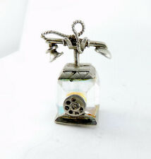 Vintage Silver Charm PENDANT Fob CUBE Crystal TELEPHONE