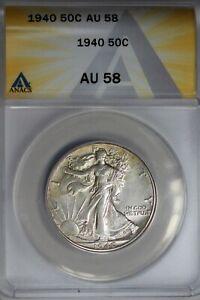 1940  .50   ANACS  AU 58  Walking Liberty, Half Dollar, Lady Liberty Half