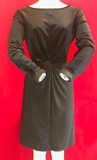 Michael Kors Black Velvet Mix Long Sleeve Twist Dress Size XL