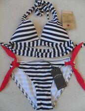 Fat Face Nautical Stripe 1 Size Bigger Push up Halterneck Side Tie Bikini 10-16 10 - 10 Top 10 Bottoms
