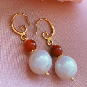 12MM White baroque Shell pearl  Earring 18kGB South red Accessories Fashion