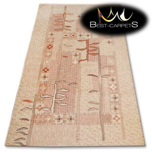 NATURAL WOOL AGNELLA RUGS dark beige leaves thick and durable carpet