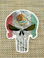 Punisher Mexico MX Mexican Flag Premium vinyl car sticker decal car skateboard