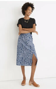 MADEWELL Linen-Blend Knotted Midi Skirt in Paisley Garden SIZE 2 NA218