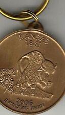 Kansas coin style antique bronze keychain