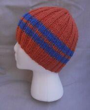 Hand Knit Hat/Beanie - orange w/ blue stripes