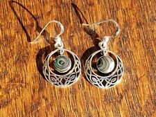 925 Sterling Silver Oxidized Circle Celtic Hook Earrings, Decorated with Abalone