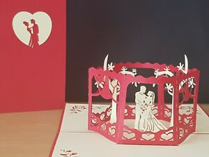 Beautiful Bride and Groom 3D Pop Up Card.(VALENTI,Wedding, Engaged, Anniversary