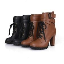 Punk Women Chunky High Heels Buckle Lace Up Ankle Boots Bootie Vintage Plus Shoe