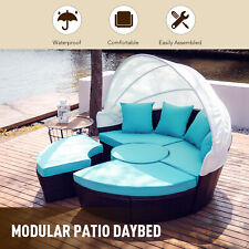 5pc Outdoor Furniture Set Wicker Daybed 4 Chairs Round Table Pillows Cover