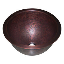 COPPER SINK HAMMERED ANTIQUE ROUND SINK 14 X 8