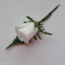 Wedding Bridal Button Hole Silk Rose Bud Complete With Lapel Pin ~11 Colours