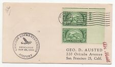 1950 USA Air Mail Cover STEVENSON WA to SAN FRANCISCO CA SG984 Numbered Gutter