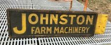 Rare Johnston Farm Machinery Double Sided Tab Sign Smoltz Painted Wood Antique