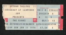1978 The Kinks concert ticket stub Uptown Theatre Chicago