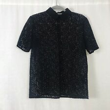 The Kooples Black Sheer Lace Short Sleeved Polo T-shirt UK Size Small