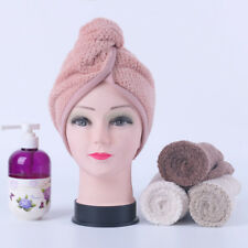 FLEECE QUICK HAIR DRY TERRY TOWEL TURBAN HEAD Wrap Loop Button Hat TURBIE