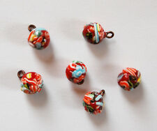 VINTAGE FUSED GLASS COLORFUL MILLEFIORI BEAD BALL PENDANTS 8mm• RED GREEN ORANGE