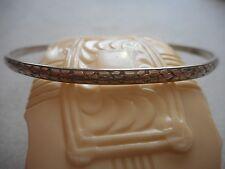 Vintage Narrow Sterling Silver Oxidized Linked Flowers Bangle Bracelet  387656