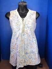 B SPORT MATERNITY~Ivory Brown Blue FLORAL BLOUSE TOP w/ Tie in Back~Womens Small
