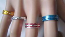 Lote 4 anillos aluminio colores nº 8 ó 17 mm diámetro medio bisutería r-18