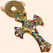 """Gold Plated Cross Pendant Chain 17-18"""" Red Coral, Green Onyx & Multi Cut"""