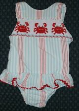 Cukees sun suit - 12M, Smocked, Crabs, red/blue stripes, boutique cute!