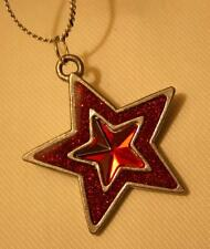 Handsome Glitter Accent Layered Red Enameled Star Silvertone Pendant Necklace