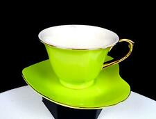 """CLASSIC COFFEE & TEA CHINA PORCELAIN HEART SHAPED GREEN 2 1/2"""" CUP AND SAUCER"""