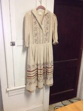 SORA couture dessin , Beige Cotton , Embroidered , Ribbon Trim Dress