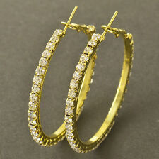 "Nice New 9k Yellow Gold Filled Clear Crystal CZ Large 1.7"" Round Hoop Earrings"