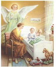 Catholic Print Picture GUARDIAN ANGEL with Praying Boy vintage style 8x10""