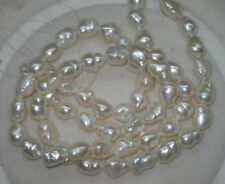 Natural white 8-9mm luster baroque freshwater pearls Loose Bead 15""