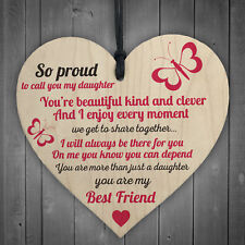 Proud Of My Daughter Wooden Hanging Heart Sign Plaque Daughters Love Gift