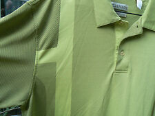 TEHAMA 'HANG'EM DRY' MENS XL POLO SHIRT IN SHADES OF WARM LIME-LOGO BUTTONS