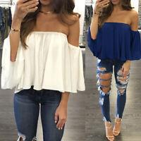 Women Blouses Off Shoulder Short Sleeve Tops Polyester T-Shirts Summer Hot S-5XL