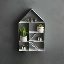 Metal White House Shaped Floating Wall Shelf Novelty Home Storage Display Unit